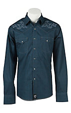 Rock 47 by Wrangler Blue & Black Printed Snap Western Shirt MRC231M