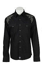 Rock 47 Men's Black Tonal Snap Western Shirt