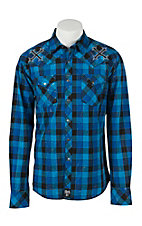 Rock 47 Men's Plaid Royal Black Snap Long Sleeve Western Shirt