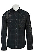 Rock 47 Men's Black and Grey Plaid with Embroidery Western Shirt