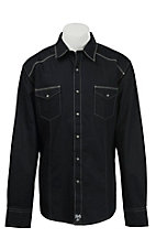Rock 47 Men's Solid Black Long Sleeve Western Shirt MRC242X
