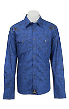 Rock 47 Men's Blue with Scroll Embroidery Western Shirt MRC244B