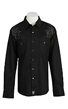 Rock 47 Men's Black with Tribal Embroidery Snap Western Shirt