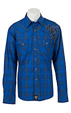 Rock 47 Men's Blue Plaid Snap Western Shirt MRC255M