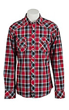 Rock 47 Men's Red Plaid Snap Western Shirt MRC259M