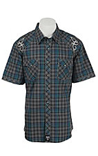 Rock 47 Men's Grey Plaid Snap Western Shirt MRC262M