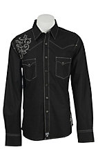 Rock 47 Men's Black with Scroll Embroidery Snap Western Shirt
