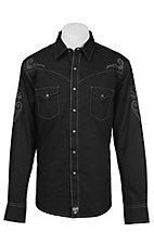 Rock 47 by Wrangler Men's Black Tonal Stripe Long Sleeve Western Snap Shirt