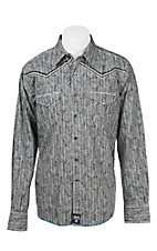 Rock 47 by Wrangler Men's L/S Grey Paisley Distressed Western Shirt