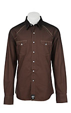 Rock 47 by Wrangler Men's Black and Brown Ombre L/S Western Shirt