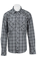 Rock 47 by Wrangler Men's Grey Plaid Embroidered Long Sleeve Western Shirt