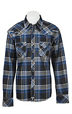 Rock 47 by Wrangler Men's Blue and Black Plaid L/S Classic Western Shirt