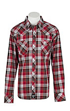 Rock 47 by Wrangler Men's Red, White, and Black Plaid L/S Western Snap Shirt