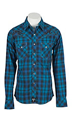 Rock 47 by Wrangler Men's Blue, Turquoise, and Black Plaid L/S Western Shirt