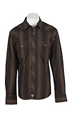 Rock 47 by Wrangler Men's Brown and Black Striped L/S Western Snap Shirt - Big & Tall
