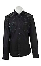 Rock 47 by Wrangler Men's Black with Grey Embroidery L/S Western Snap Shirt