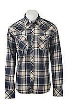 Rock 47 by Wrangler Men's Black and Khaki Plaid L/S Western Snap Shirt
