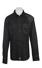 Rock 47 by Wrangler Men's Black with Grey Embroidery Long Sleeve Western Shirt