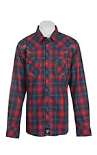 Rock 47 by Wrangler Men's Red and Navy Plaid Long Sleeve Western Shirt
