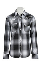 Rock 47 by Wrangler Men's White and Black Plaid L/S Western Shirt