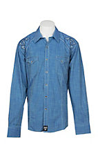 Rock 47 by Wrangler Men's Blue Rancher L/S Western Snap Shirt