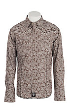 Rock 47 by Wrangler Men's Brown Paisley Print Long Sleeve Western Shirt
