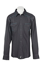 Rock 47 by Wrangler Men's Black Stripe L/S Western Shirt