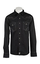 Rock 47 by Wrangler Men's Black with Grey Stitching Long Sleeve Western Shirt