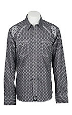 Rock 47 by Wrangler Men's Black with Diamond Print and Grey Embroidery Long Sleeve Western Shirt