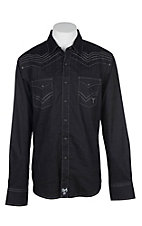 Rock 47 by Wrangler Men's Solid Black with Embroidery L/S Western Snap Shirt