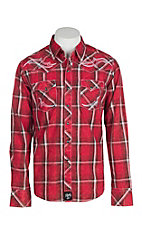 Rock 47 by Wrangler Men's Red Plaid w/ Embroidery Western Snap Shirt