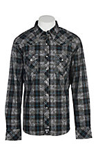 Rock 47 by Wrangler Men's Black and Grey Paisley Plaid Western Snap Shirt