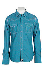 Rock 47 by Wrangler Men's Light Blue Print w/ Embroidery Western Snap Shirt
