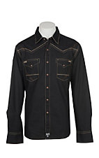 Rock 47 by Wrangler Men's Black with Tan Embroidery L/S Snap Western Shirt