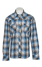 Rock 47 by Wrangler Men's Blue Plaid and Paisley Oeverprint with Navy and White Embroidery L/S Western Shirt