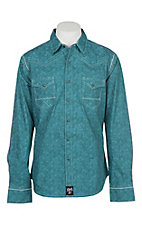 Rock 47 by Wrangler Men's Turquoise with Light Blue and White Embroidery L/S Western Snap Shirt