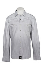 Rock 47 by Wrangler Men's Faded Grey with Grey and White Embroidery L/S Western Shirt
