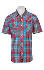 Rock 47 by Wrangler Men's Red and Blue Plaid Embroidery S/S Snap Western Shirt