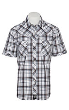 Rock 47 by Wrangler Men's Brown and Navy with Brown and White Embroidery Short Sleeve Western Shirt