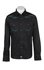 Wrangler Rock 47 Men's Black with Embroidery Long Sleeve Western Shirt