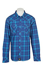 Rock 47 by Wrangler Men's Blue and Purple Plaid with Blue Embroidery L/S Western Shirt