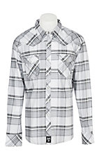 Wrangler Rock 47 White with Grey Plaid L/S Western Snap Shirt