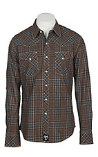Wrangler Rock 47 Men's Brown & Turquoise Plaid Diamond Print Long Sleeve Western Shirt