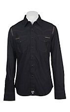 Rock 47 by Wrangler Men's Black Long Sleeve Western Shirt