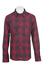 Rock 47 by Wrangler Men's Red Plaid Long Sleeve Western Shirt