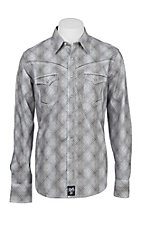 Rock 47 by Wrangler Men's Grey Print Long Sleeve Western Shirt