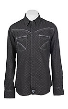 Rock 47 by Wrangler Men's Black Print Long Sleeve Western Shirt