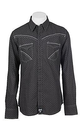 Rock 47 by Wrangler Men's Black Print Long Sleeve Western Shirt