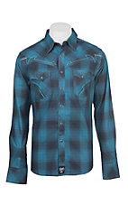 Rock 47 by Wrangler Men's Blue Plaid Long Sleeve Western Shirt