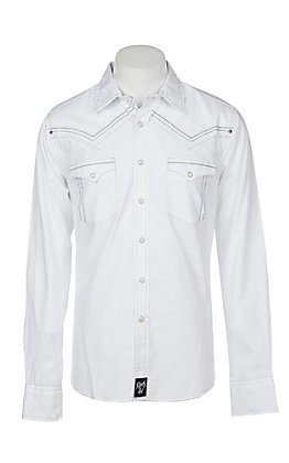 Rock 47 by Wrangler Men's White with Grey Stitching Long Sleeve Western Shirt